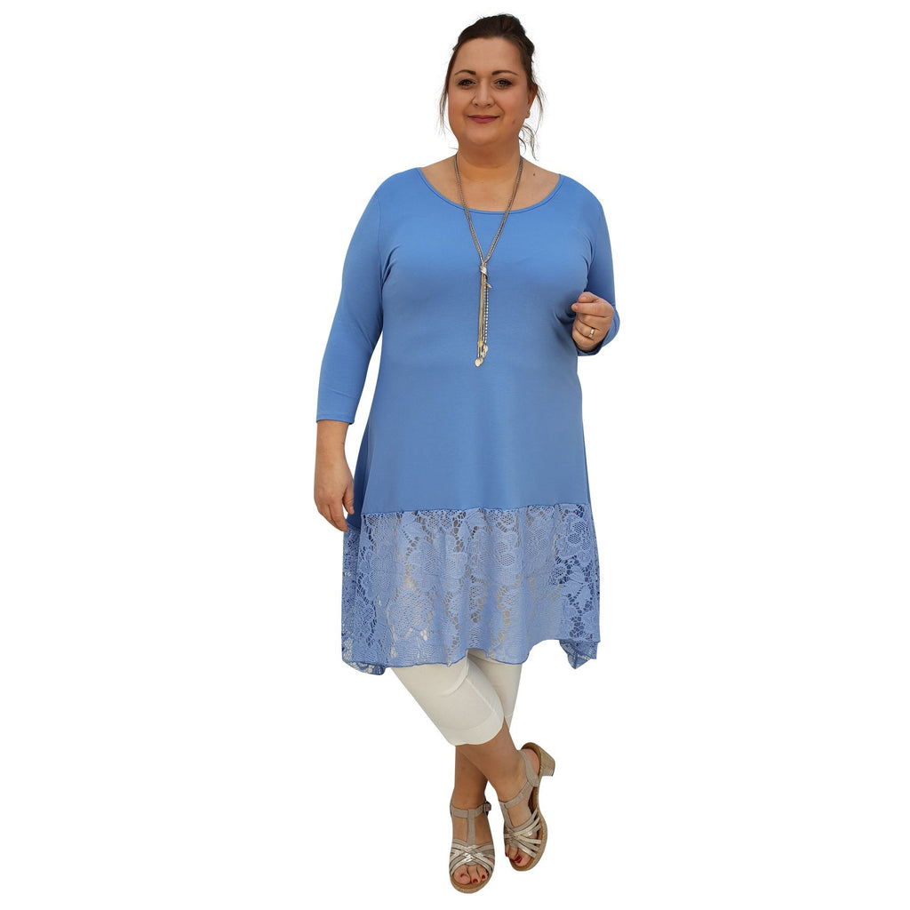 l1020/_blue Tunic 34 Sleeve Swingy Sidetail Hem Lace Frill Stretchy Jersey Lagenlook Plus Size