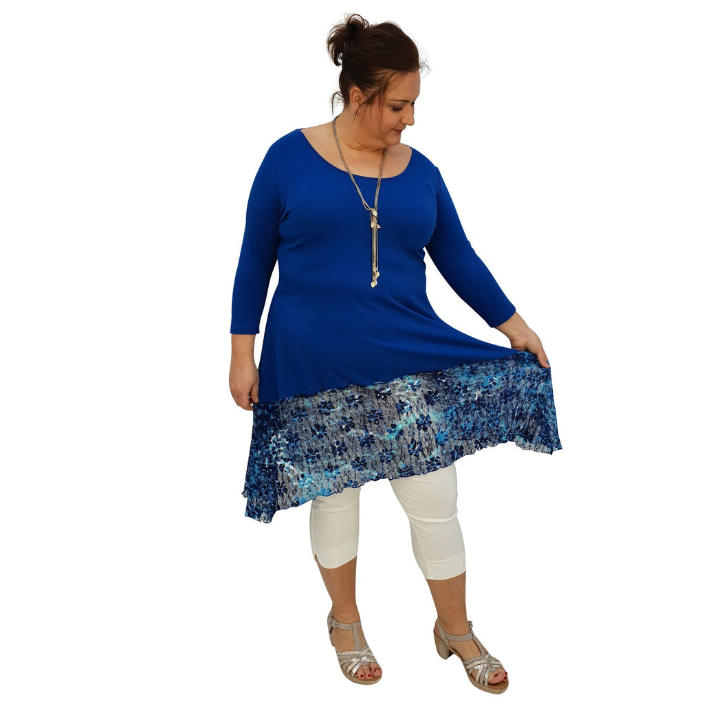 Tunic 3/4 Sleeve Swingy Sidetail Hem Lace Frill Stretchy Jersey Lagenlook Plus Size [L1020_ROYALBLUE] - size 16 18 20 22 24 26 28 30 32 34 36 38 40 42 Wolfairy