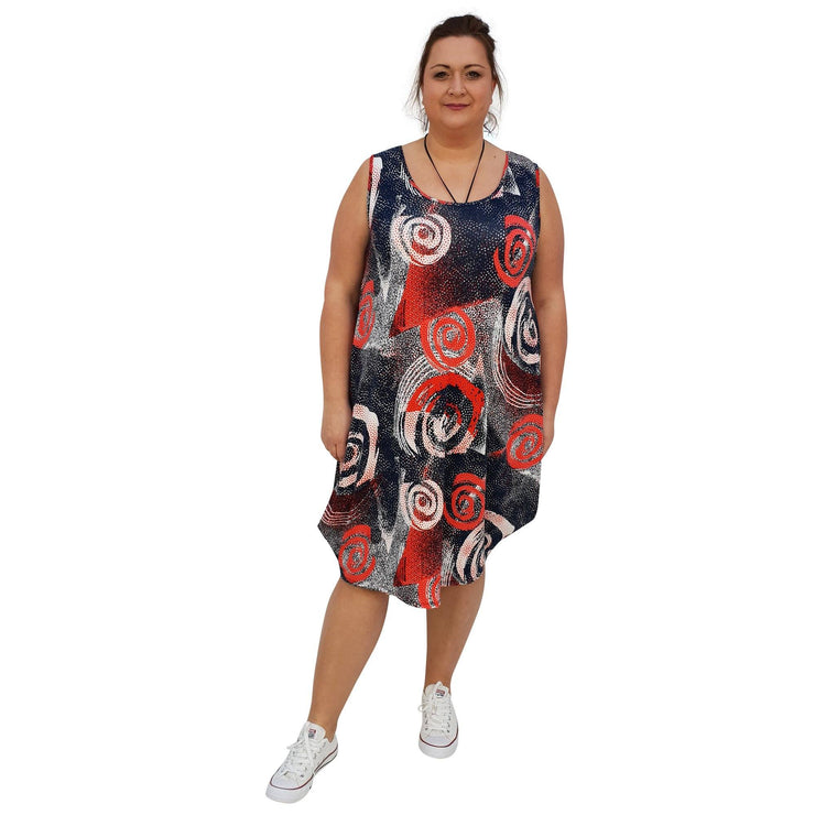 Dress Beach Holiday Loose Baggy Sleeveless Jersey Lagenlook Plus Size [L1055_BLUE] dress Wolfairy