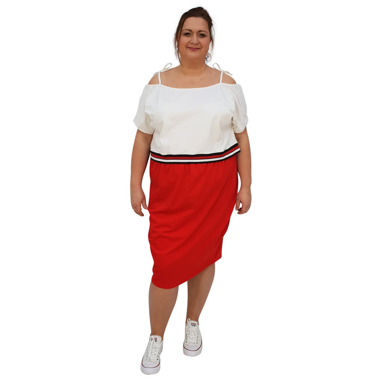 Jersey Sports Set - Top & Skirt With Stripe Plus Size [L1049_IVORYRED] dress Wolfairy