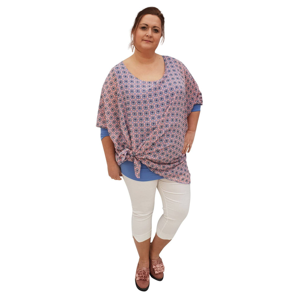 Chiffon Top Loose Tunic 3/4 Sleeve Lagenlook Plus Size [L1050_BLUELIGHT] - size 16 18 20 22 24 26 28 30 32 34 36 38 40 42 Wolfairy