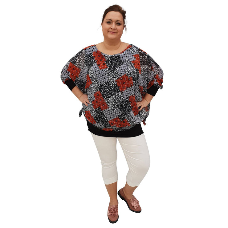 Chiffon Top Loose Tunic 3/4 Sleeve Lagenlook Plus Size [L1050_GREY] - size 16 18 20 22 24 26 28 30 32 34 36 38 40 42 Wolfairy