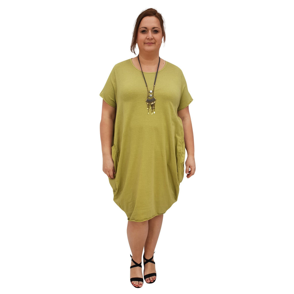 Cotton Baggy Dress Lagenlook Plus Size [L227_LIME] - size 16 18 20 22 24 26 28 30 32 34 36 38 40 42 Wolfairy