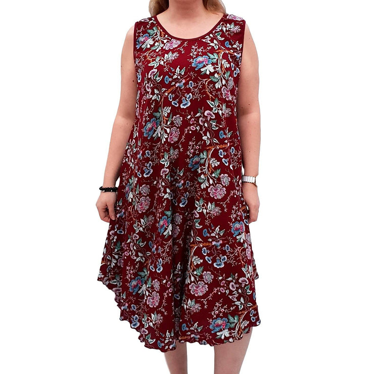 Sleeveless Boho Beach Holiday Floral Airy Dress  Plus Size [L1052_WINE] - size 16 18 20 22 24 26 28 30 32 34 36 38 40 42 Wolfairy