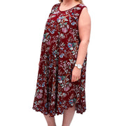 Sleeveless Boho Beach Holiday Floral Airy Dress Plus Size [L1052_WINE] dress Wolfairy
