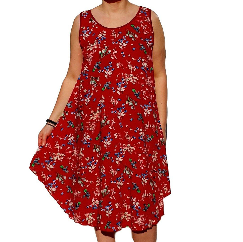 Dress  Sleeveless Boho Beach Holiday Floral Airy Lagenlook Plus Size [L1052_WINE2] - size 16 18 20 22 24 26 28 30 32 34 36 38 40 42 Wolfairy