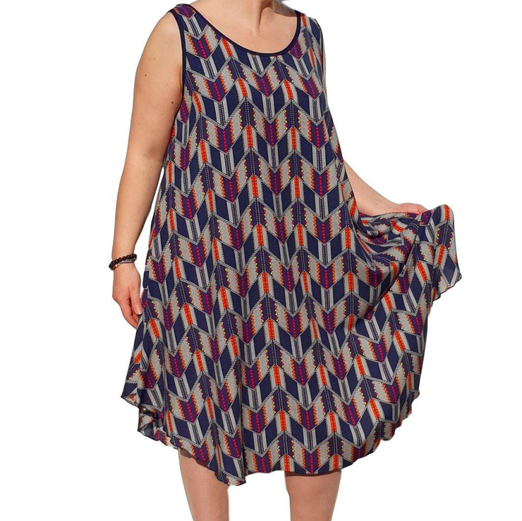 Dress  Sleeveless Boho Beach Holiday Floral Airy Lagenlook Plus Size [L1052_NAVY3] - size 16 18 20 22 24 26 28 30 32 34 36 38 40 42 Wolfairy