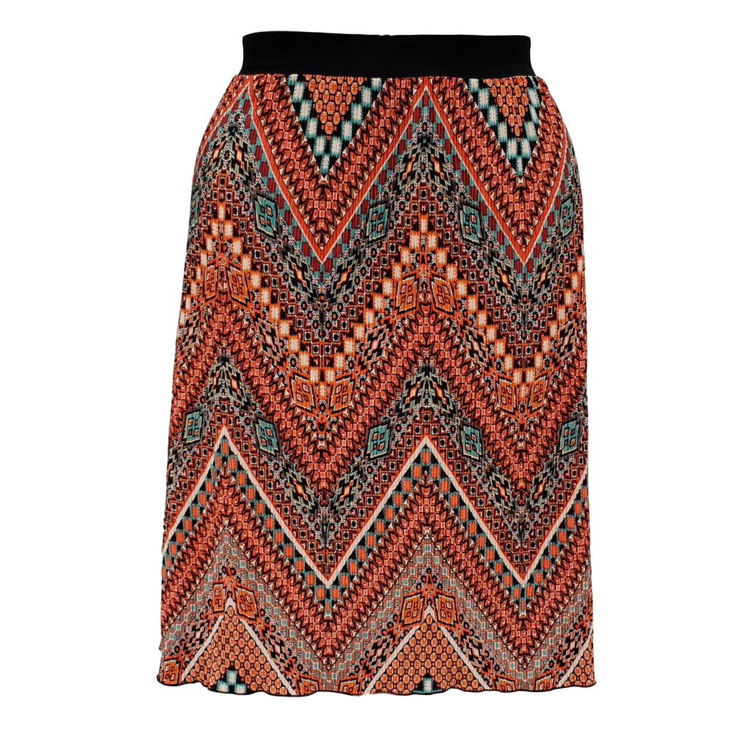 Aztec Tribal Print Pleated Midi Skirt With Elasticated Waistband Plus Size [L1059_ORANGE] - size 16 18 20 22 24 26 28 30 32 34 36 38 40 42 Wolfairy