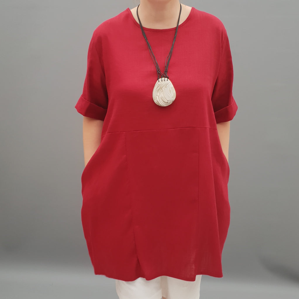 Linen Tunic Summer Top Loose Lagenlook Blouse Short Sleeve Plus Size   [L1064_WINE] - size 16 18 20 22 24 26 28 30 32 34 36 38 40 42 Wolfairy