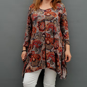 Handkerchief Paisley Stretchy Long Top Tunic 3/4 Sleeve [L1078_RUST]
