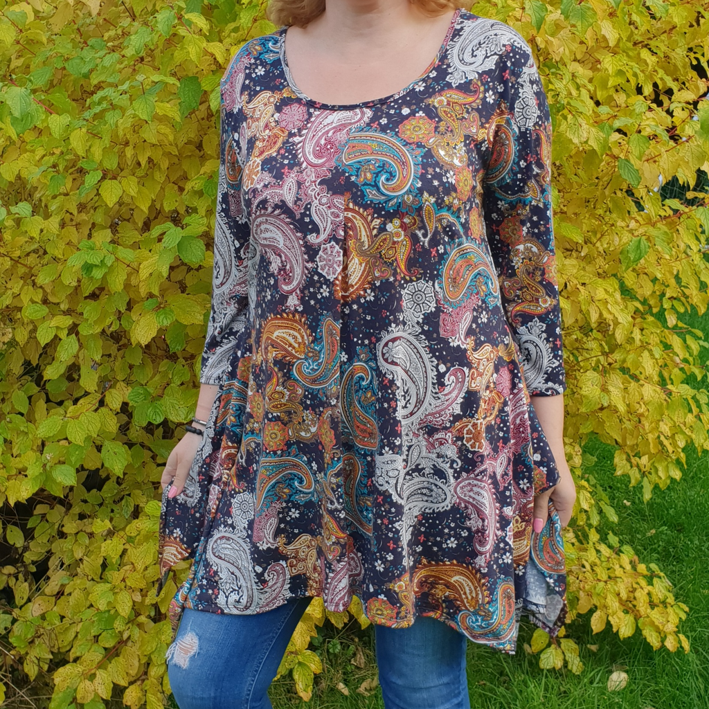 Handkerchief paisley stretchy long top tunic 3/4 sleeve  [L1078_NAVY] - size 16 18 20 22 24 26 28 30 32 34 36 38 40 42 Wolfairy