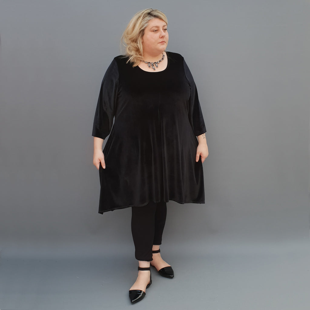 Handkerchief velvet stretchy long top tunic 3/4 sleeve plain [L1106_BLACK] - size 16 18 20 22 24 26 28 30 32 34 36 38 40 42 Wolfairy