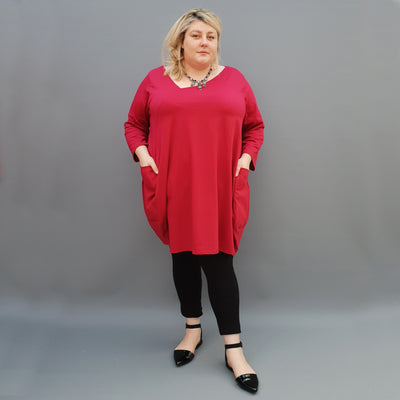 Plus Size Asymmetric Jersey Top Blouse with Pockets [L1109_BURGUNDY] - size 16 18 20 22 24 26 28 30 32 34 36 38 40 42 Wolfairy