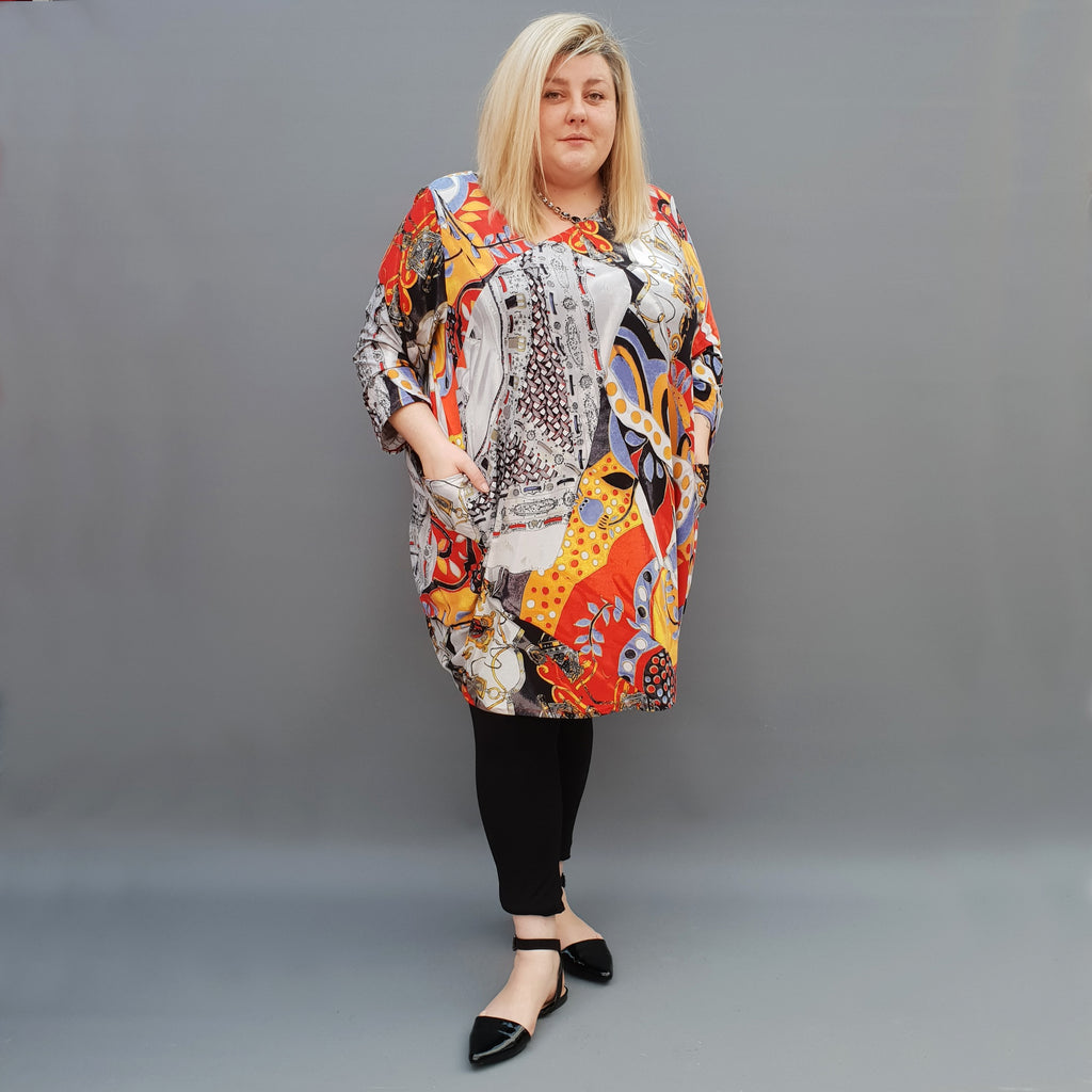 Plus Size Baggy Top Blouse Long Sleeve Asymmetric Neckline [L1111_RED2] - size 16 18 20 22 24 26 28 30 32 34 36 38 40 42 Wolfairy