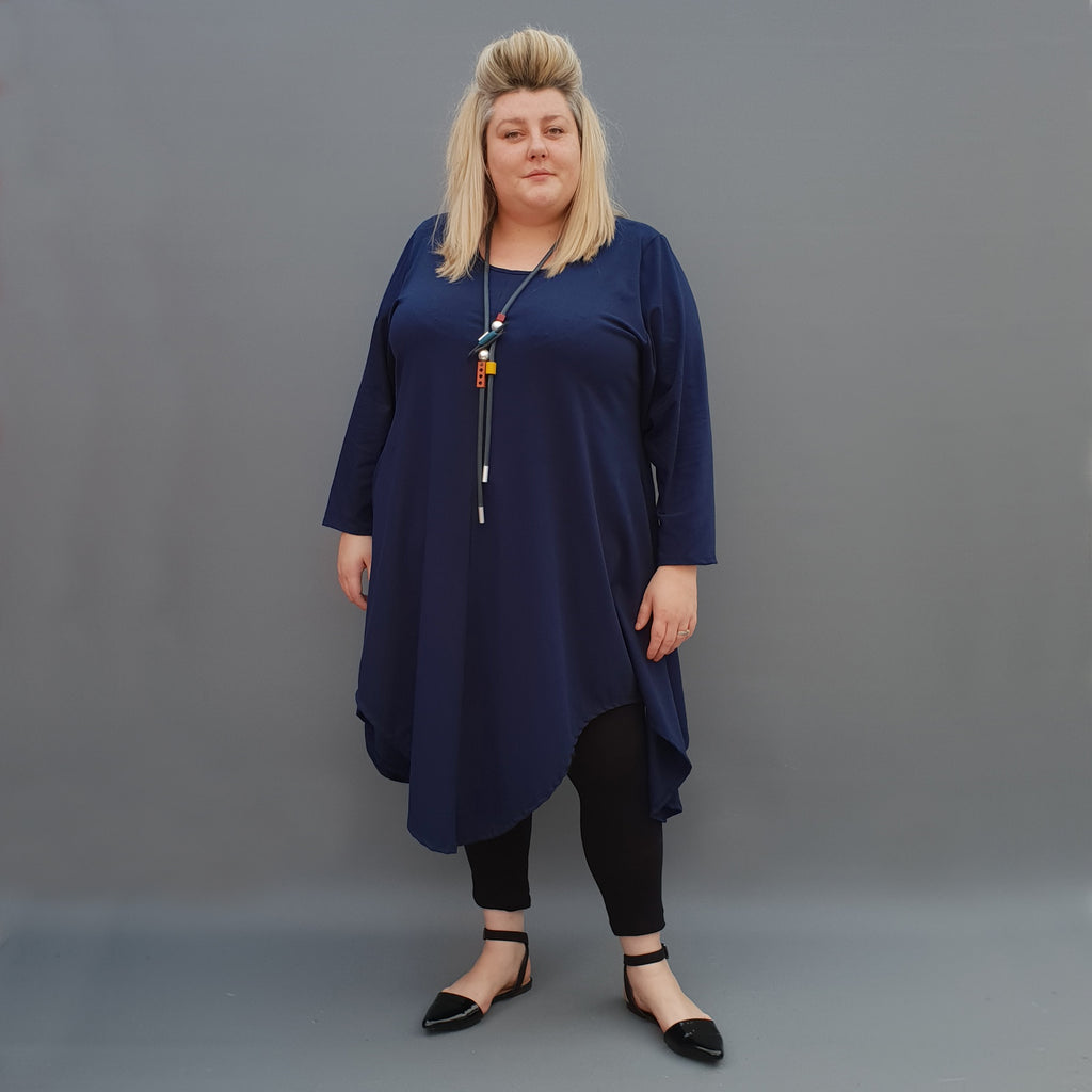 Plus Size Swing Jersey Long Top Dress Asymmetric Hem  [L1112_NAVY] - size 16 18 20 22 24 26 28 30 32 34 36 38 40 42 Wolfairy