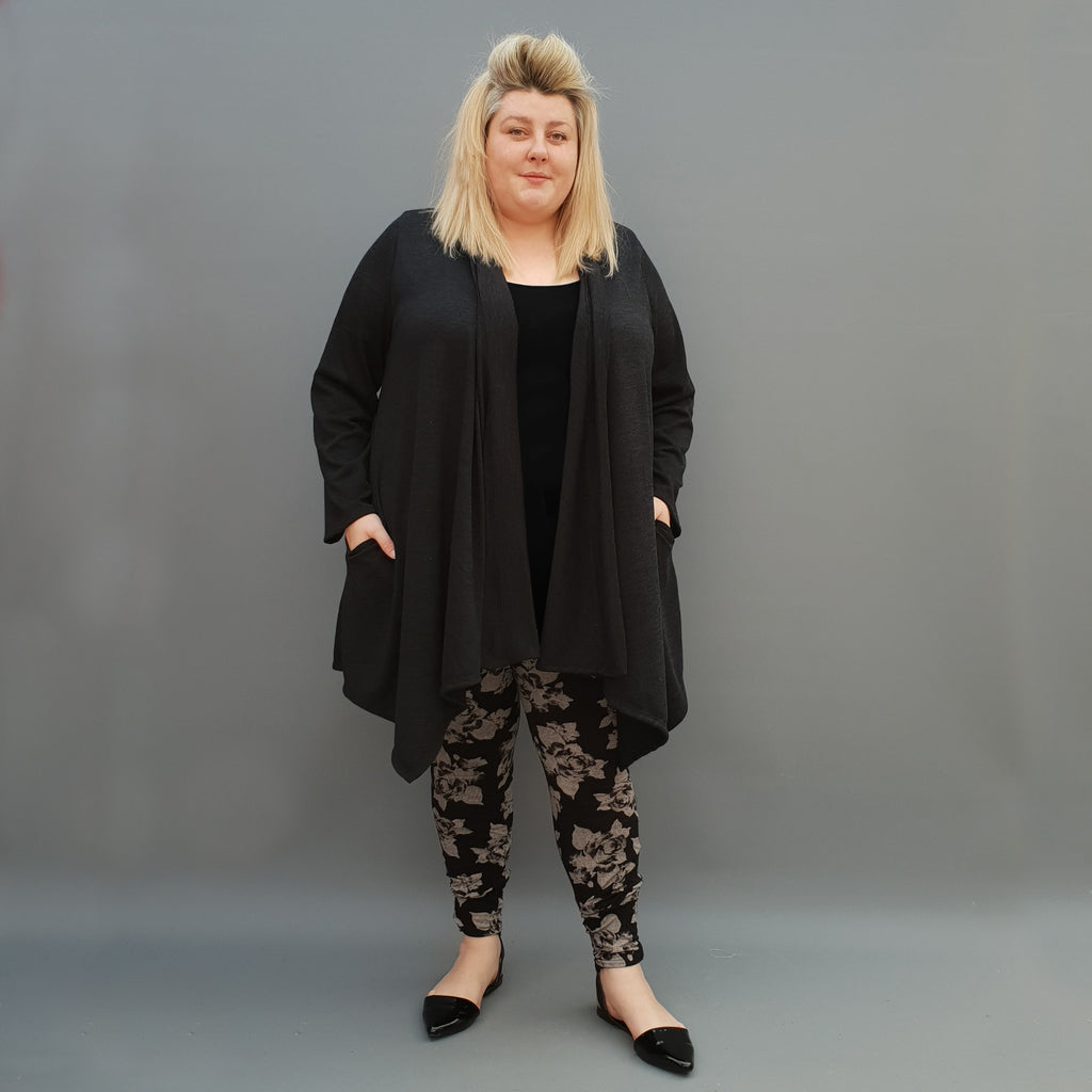 Womens plus size cardigan long sleeves open front handkerchief hem  [L1115_BLACK] - size 16 18 20 22 24 26 28 30 32 34 36 38 40 42 Wolfairy