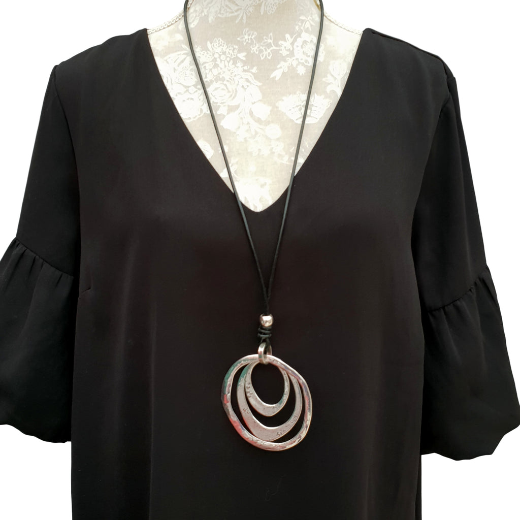 LONG NECKLACE WITH BLACK CHAIN [N1_SILVER2]