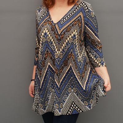 Wolfairy Plus Size V-neck Swing Pleated Stretchy Top Tunic  [L1126_ROYALBLUE]