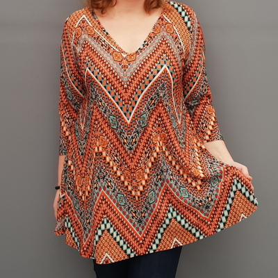 Wolfairy Plus Size V-neck Swing Pleated Stretchy Top Tunic  [L1126_ORANGE]