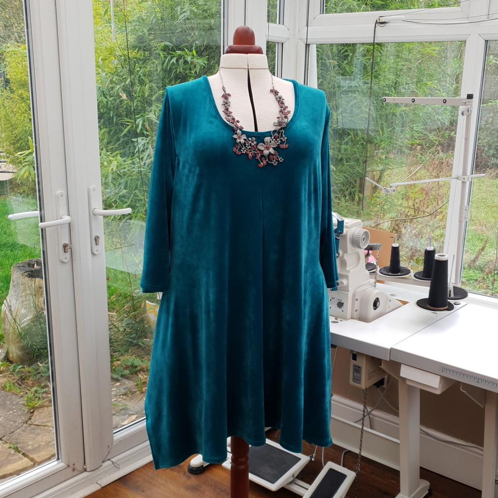 Handkerchief Velour Soft Stretchy Long Top Tunic 3/4 Sleeve [L1216_TURQUOISE]