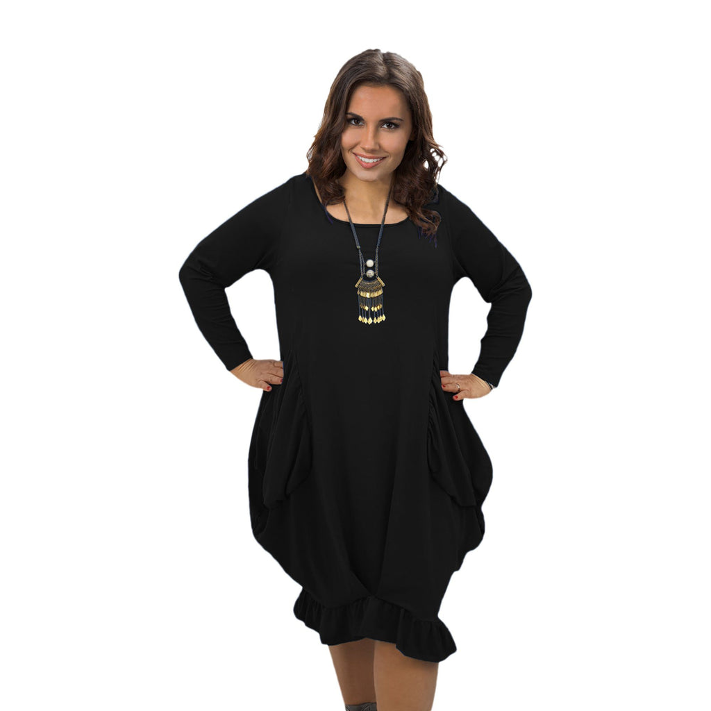 Asymmetric Dress Frill Loose Pockets Plain Long Sleeve Lagenlook Plus Size [L1044_BLACK] - size 16 18 20 22 24 26 28 30 32 34 36 38 40 42 Wolfairy