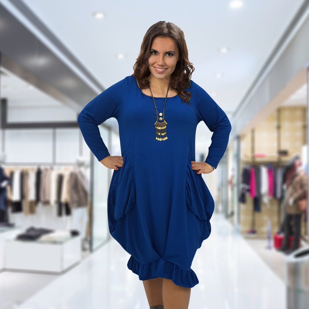 Asymmetric Dress Frill Loose Pockets Plain Long Sleeve Lagenlook Plus Size [L1044_ROYALBLUE] - size 16 18 20 22 24 26 28 30 32 34 36 38 40 42 Wolfairy