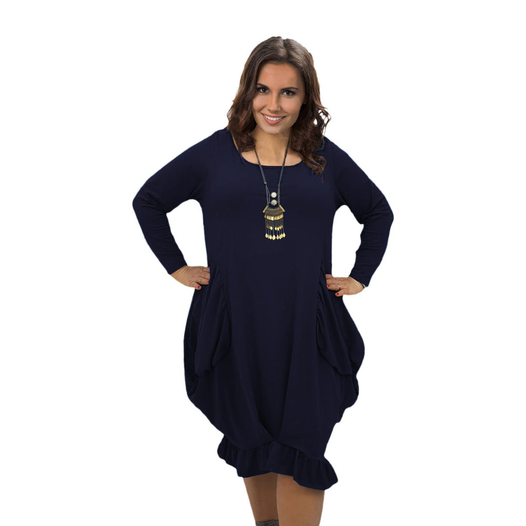 Asymmetric Dress Frill Loose Pockets Plain Long Sleeve Lagenlook Plus Size [L1044_NAVY] - size 16 18 20 22 24 26 28 30 32 34 36 38 40 42 Wolfairy