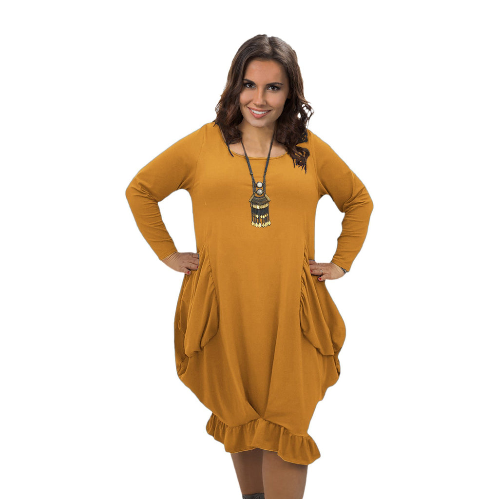 Asymmetric Dress Frill Loose Pockets Plain Long Sleeve Lagenlook Plus Size [L1044_MUSTARD] - size 16 18 20 22 24 26 28 30 32 34 36 38 40 42 Wolfairy