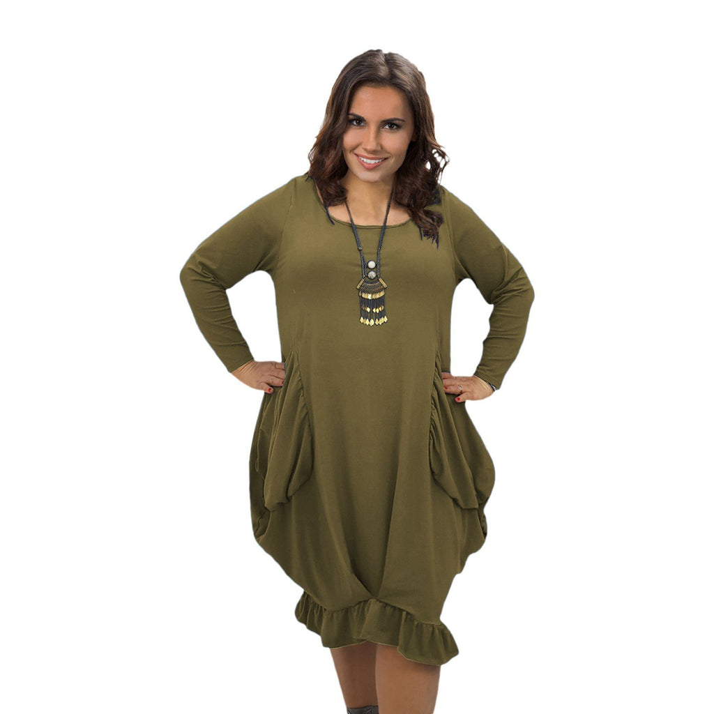 Asymmetric Dress Frill Loose Pockets Plain Long Sleeve Lagenlook Plus Size [L1044_OLIVE] - size 16 18 20 22 24 26 28 30 32 34 36 38 40 42 Wolfairy