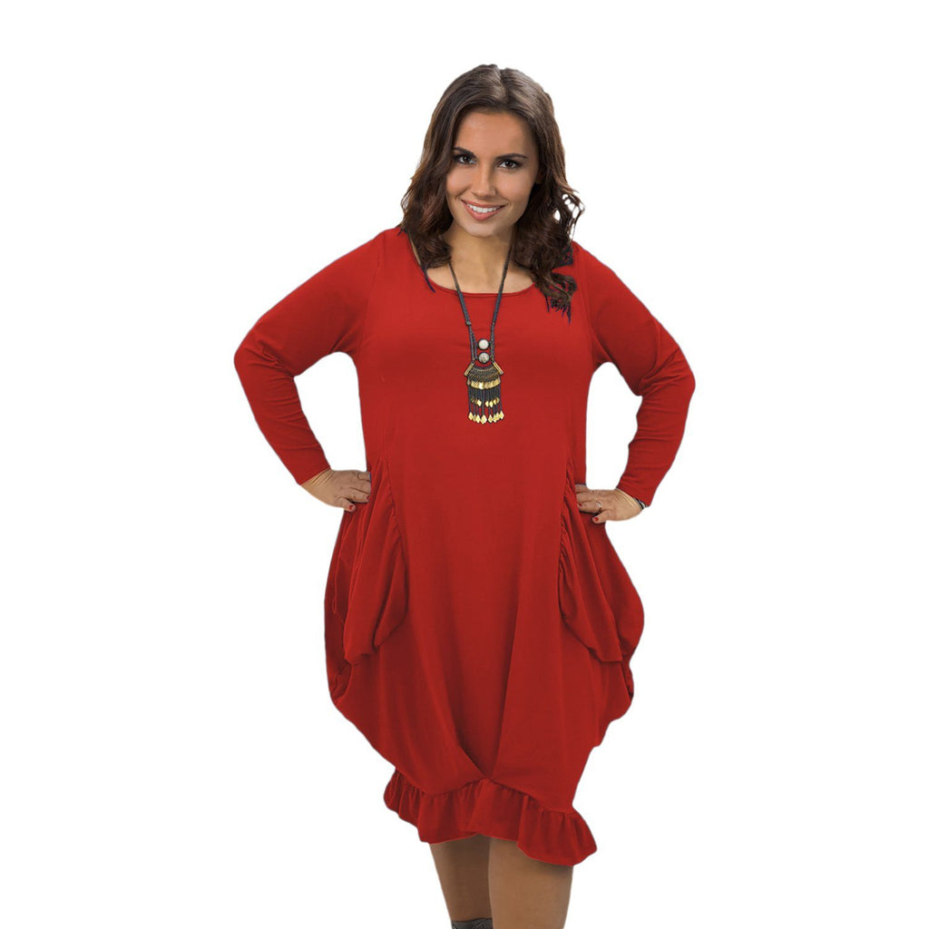 Asymmetric Dress Frill Loose Pockets Plain Long Sleeve Lagenlook Plus Size [L1044_RED] - size 16 18 20 22 24 26 28 30 32 34 36 38 40 42 Wolfairy