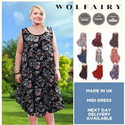 Sleeveless Boho Beach Holiday Floral Airy Dress Plus Size [L1052_BLACK] dress Wolfairy