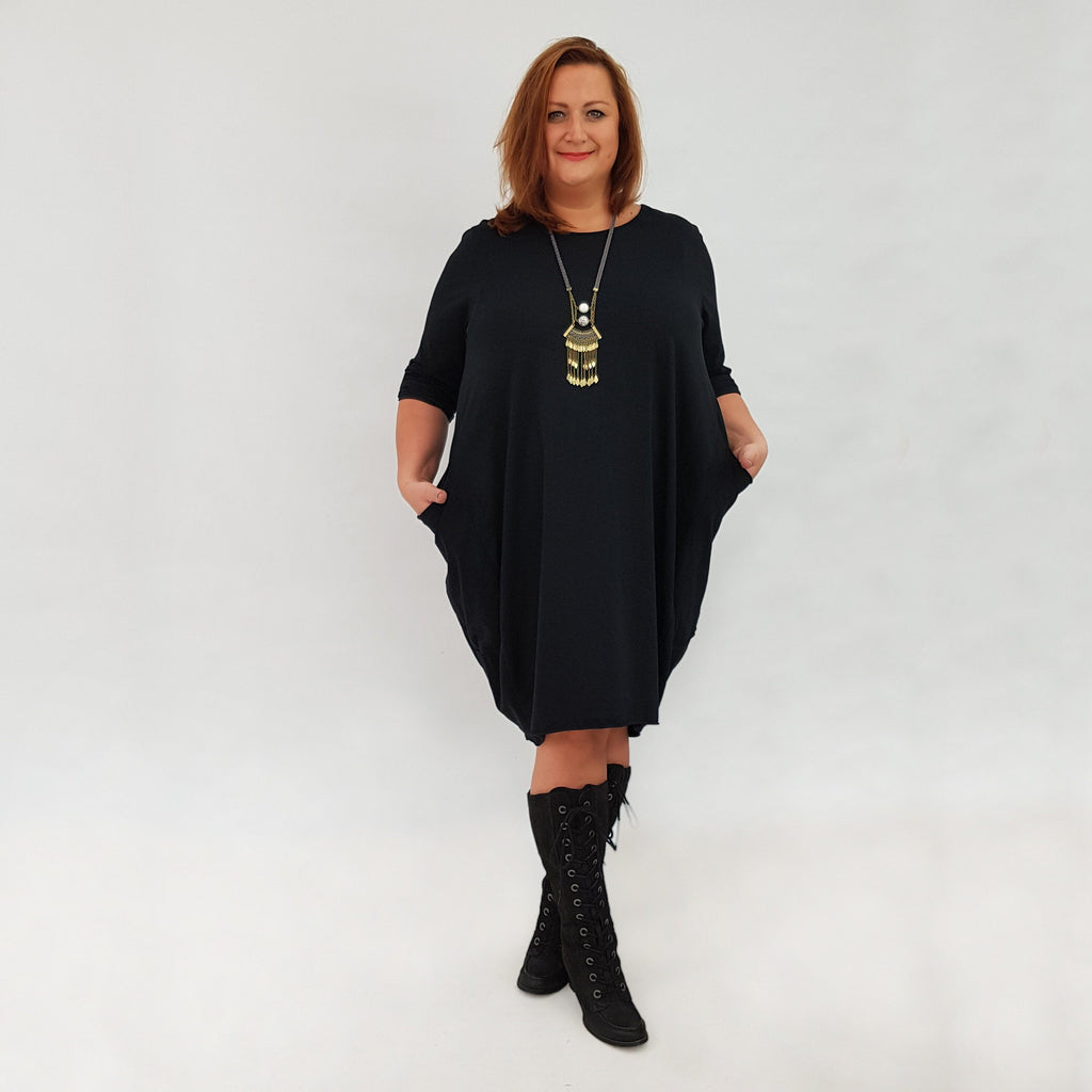 Dress Baggy Tunic Long Sleeve Black Lagenlook Plus Size [L119_BLACK] - size 16 18 20 22 24 26 28 30 32 34 36 38 40 42 Wolfairy