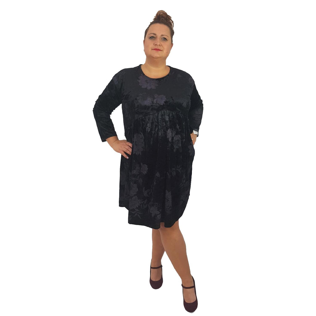 Dress Boho Hippie Swing Baggy Velvet Black Plus Size [L393_BLACK] - size 16 18 20 22 24 26 28 30 32 34 36 38 40 42 Wolfairy