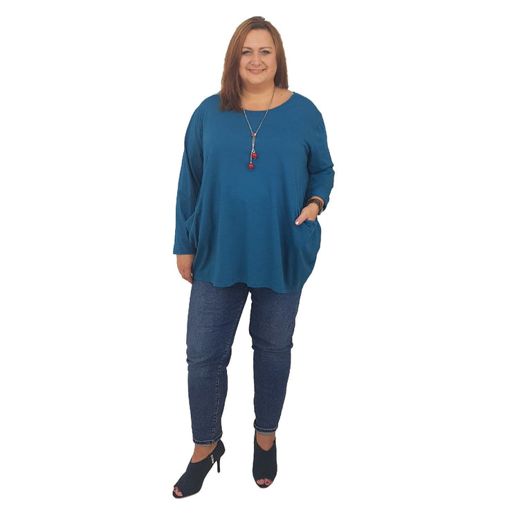 Tunic  Top Baggy   Turquoise Plus Size [L420_TURQUOISE] - size 16 18 20 22 24 26 28 30 32 34 36 38 40 42 Wolfairy