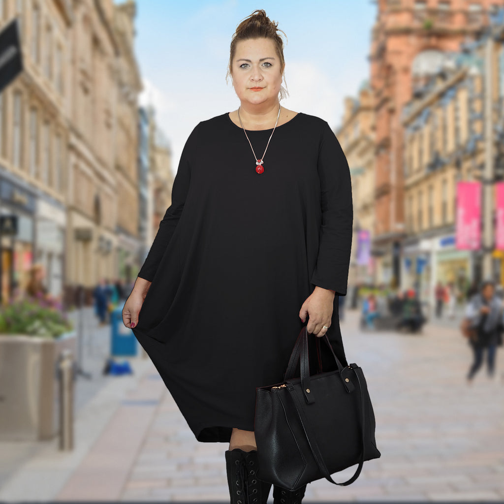 Dress Loose Baggy Long Sleeve Black Lagenlook Plus Size [L480_BLACK] - size 16 18 20 22 24 26 28 30 32 34 36 38 40 42 Wolfairy