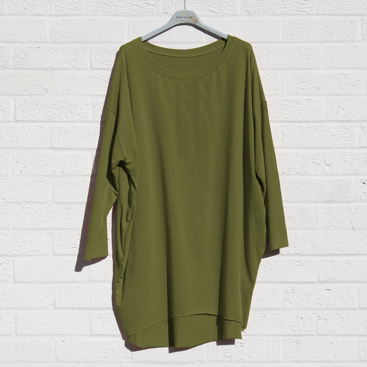 Tunic Top Jersey Longer back Plus Size [L64A_OLIVE] - size 16 18 20 22 24 26 28 30 32 34 36 38 40 42 Wolfairy