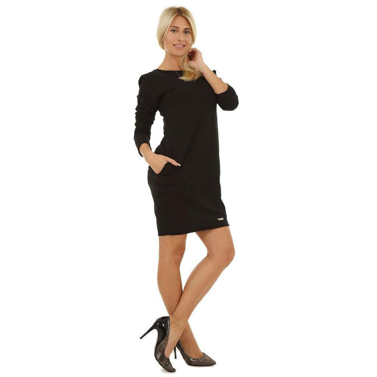 Bodycon Cocktail Party Cotton Dress Long Sleeve With Pockets Black [B1_BLACK] dress Wolfairy