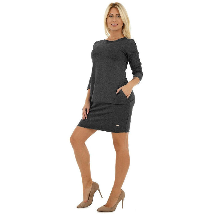Bodycon Cocktail Party Cotton Dress Long Sleeve With Pockets Dark_grey [B1_DARKGREY] - size 16 18 20 22 24 26 28 30 32 34 36 38 40 42 Wolfairy