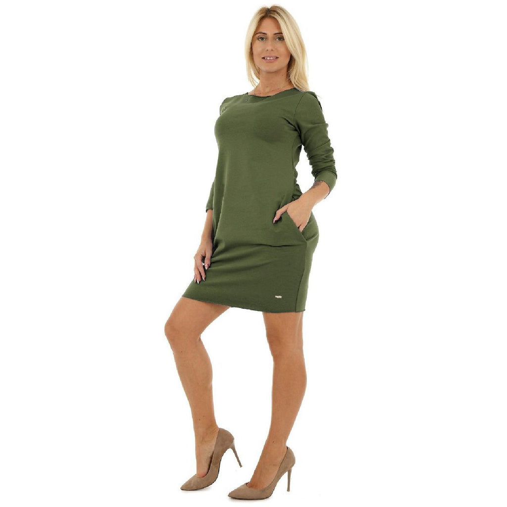 Bodycon Cocktail Party Cotton Dress Long Sleeve With Pockets Olive [B1_OLIVE] - size 16 18 20 22 24 26 28 30 32 34 36 38 40 42 Wolfairy