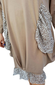 Asymmetric Dress Loose Chiffon Pockets And Frill Long Sleeve Lagenlook Plus Size [L1045_BEIGE] dress Wolfairy