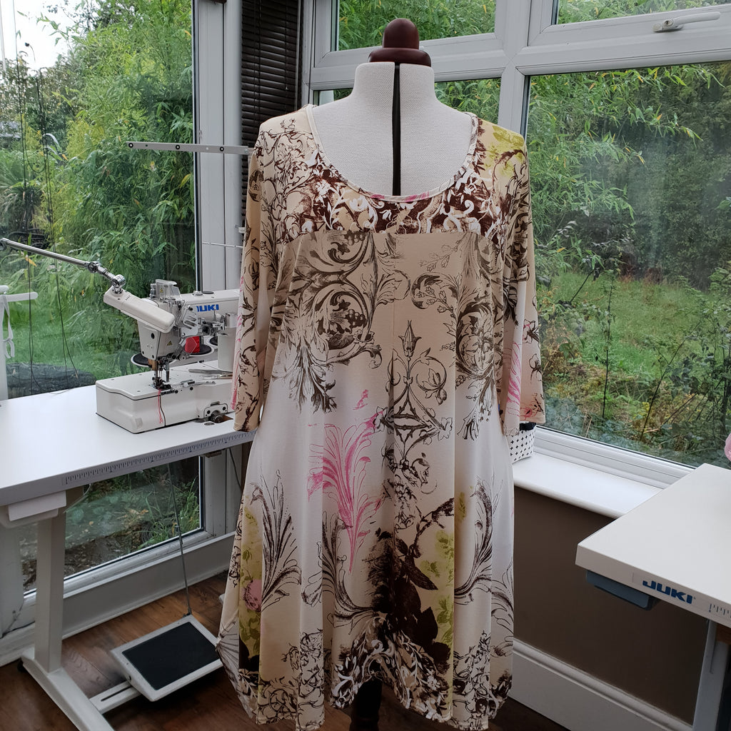 Handkerchief Printed Stretchy Long Top Tunic 3/4 Sleeve [L1188_BEIGE2]