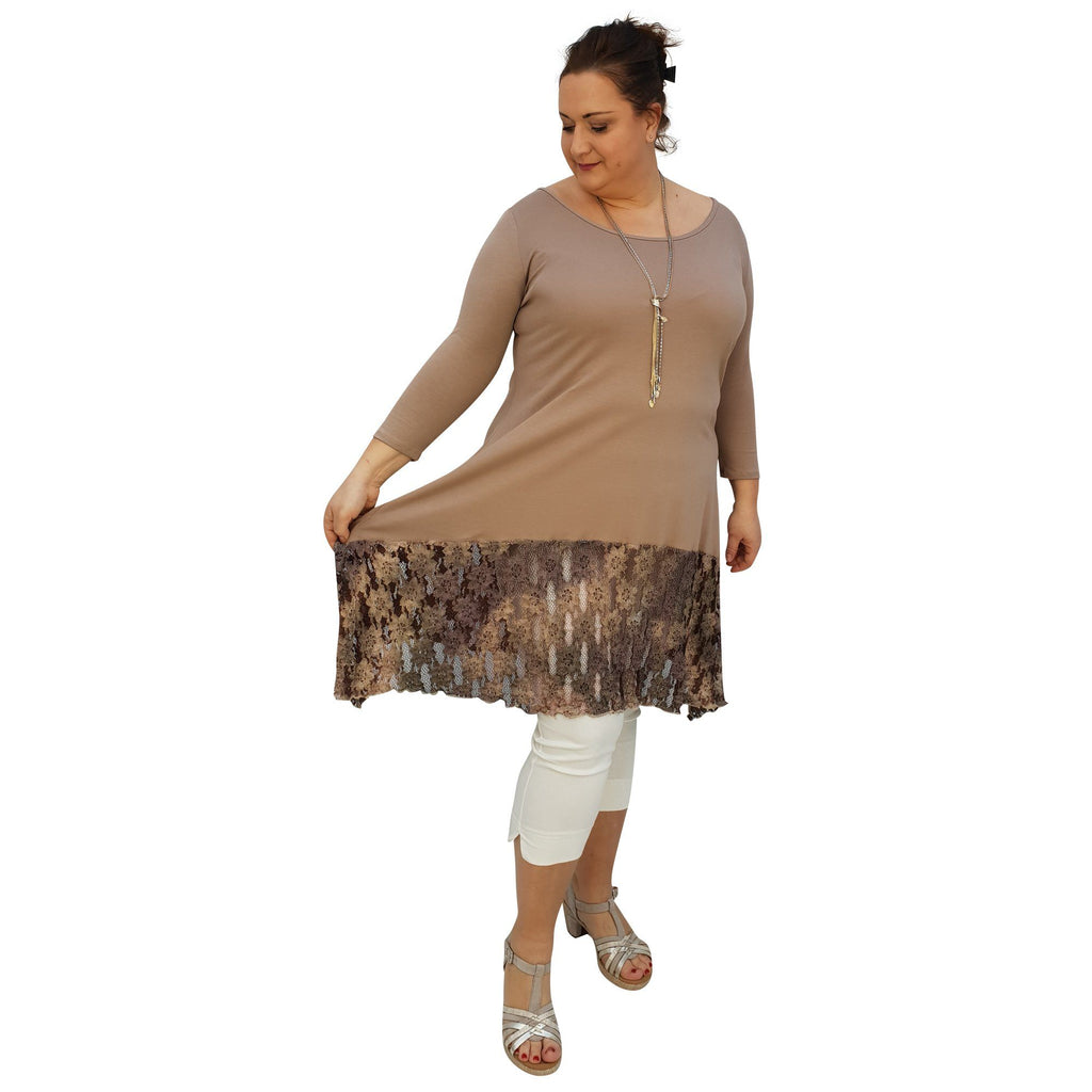 Tunic 3/4 Sleeve Swingy Sidetail Hem Lace Frill Stretchy Jersey Lagenlook Plus Size [L1020_BEIGE2] - size 16 18 20 22 24 26 28 30 32 34 36 38 40 42 Wolfairy