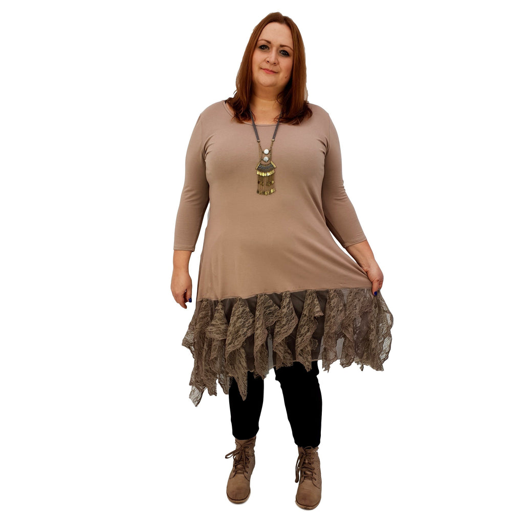 Longer Tunic Floral Lace Frill 3/4 Sleeve Lagenlook Plus Size [L1042_BEIGE] - size 16 18 20 22 24 26 28 30 32 34 36 38 40 42 Wolfairy