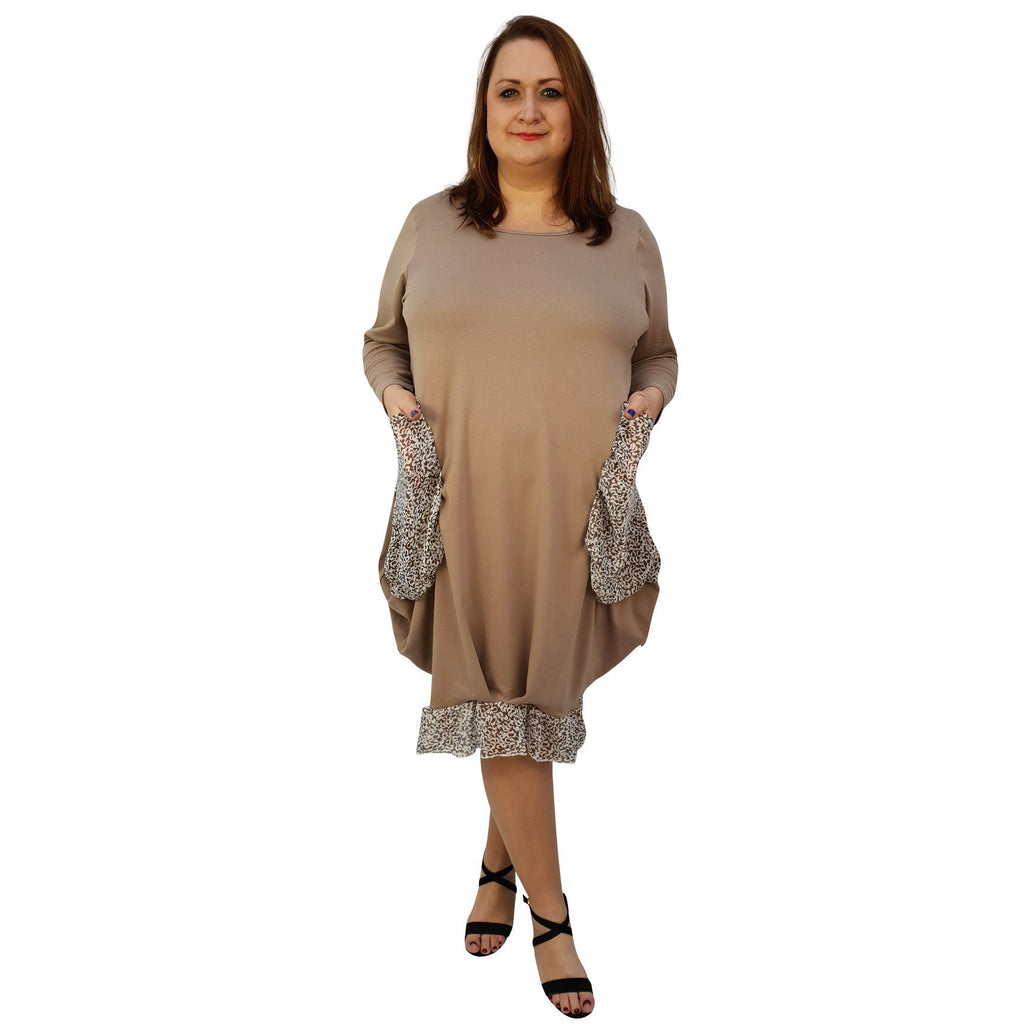 Asymmetric Dress Loose Chiffon Pockets And Frill Long Sleeve Lagenlook Plus Size [L1045_BEIGE] - size 16 18 20 22 24 26 28 30 32 34 36 38 40 42 Wolfairy