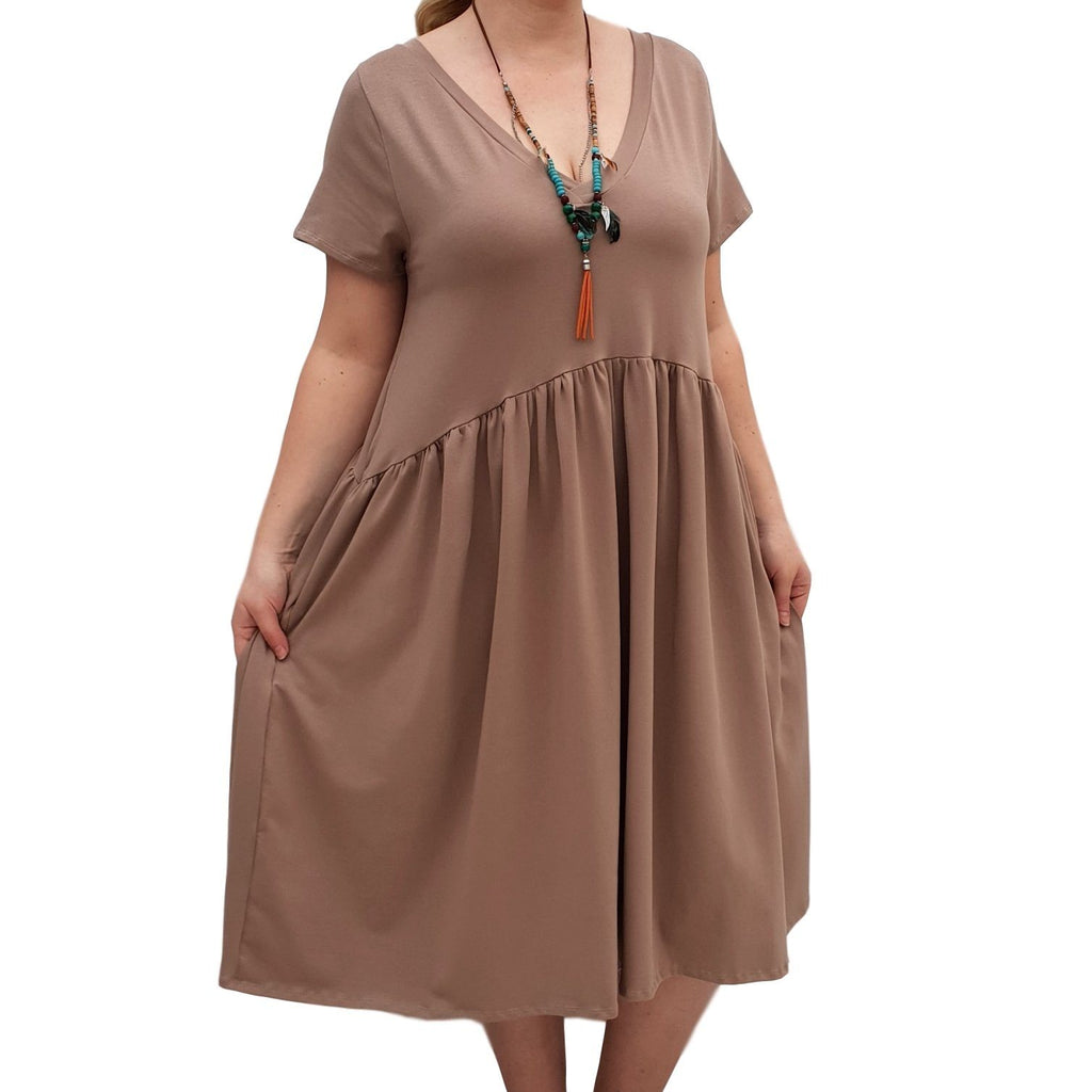 V-neck Swing Dress  Baggy  Jersey Stretchy Boho 2 Pockets Lagenlook Plus Size [L1058_BEIGE] - size 16 18 20 22 24 26 28 30 32 34 36 38 40 42 Wolfairy