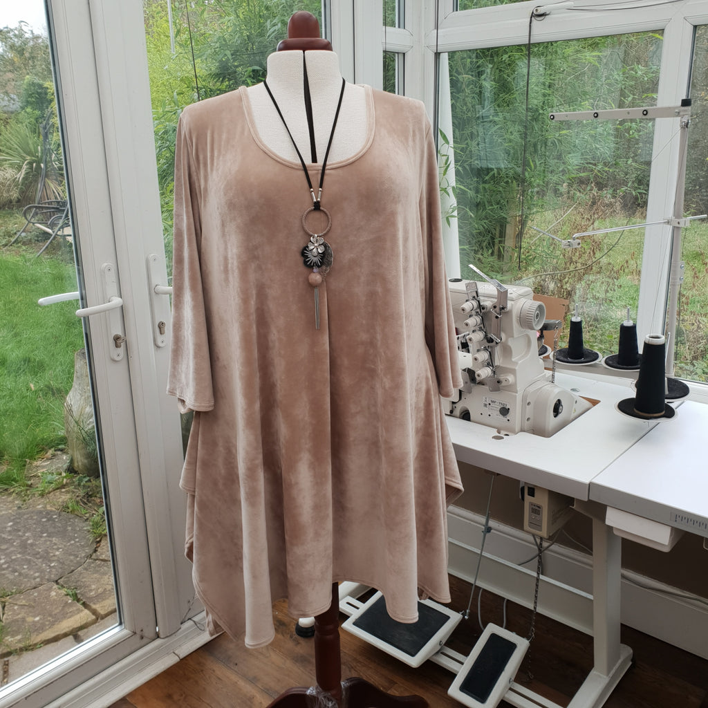 Handkerchief Velour Soft Stretchy Long Top Tunic 3/4 Sleeve [L1216_BEIGE]