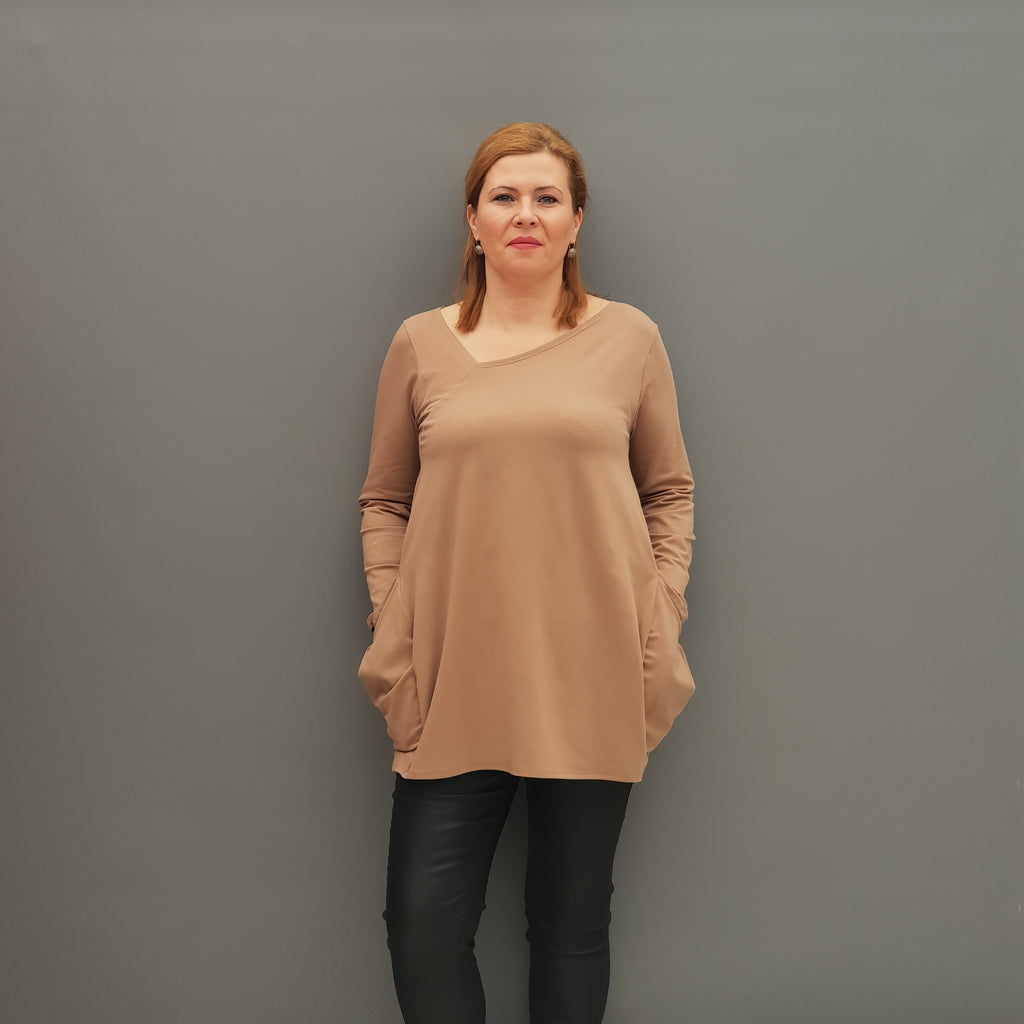 Plus Size Asymmetric Jersey Top Blouse with Pockets [L1109_BEIGE] - size 16 18 20 22 24 26 28 30 32 34 36 38 40 42 Wolfairy