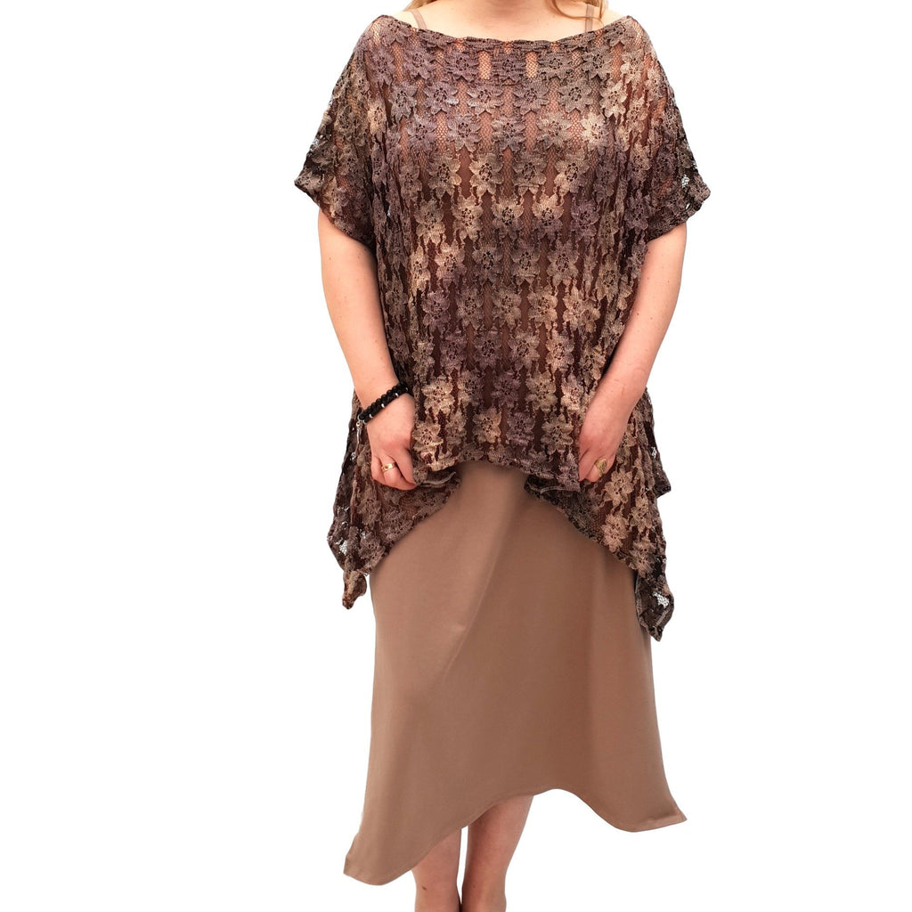 Semi-fitted Bodycon Jersey Maxi Dress With Lace Top - 2 Pieces Set Lagenlook Plus Size [L1053_BEIGE] - size 16 18 20 22 24 26 28 30 32 34 36 38 40 42 Wolfairy