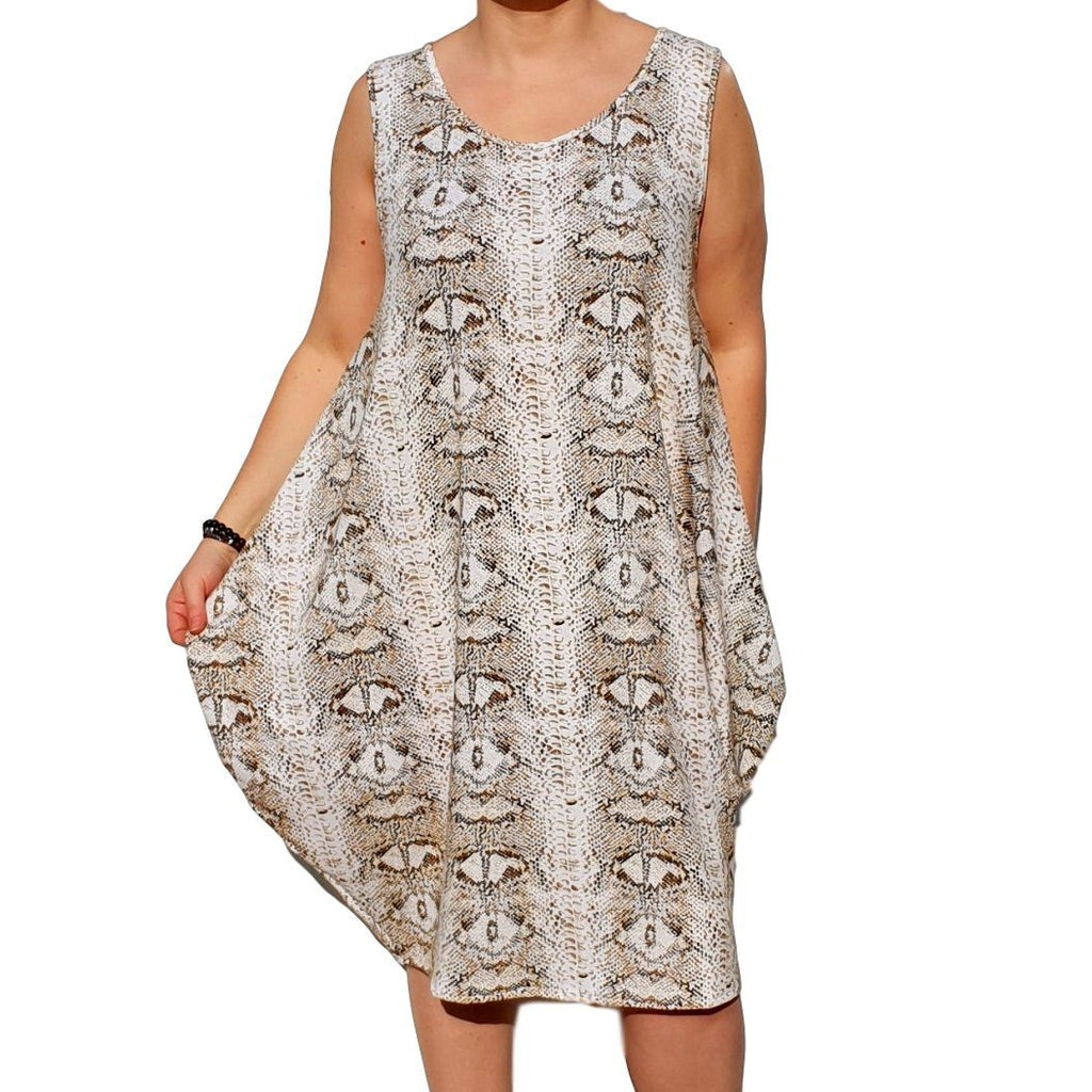 Dress  Beach Holiday Snake Animal Print Loose Baggy Sleeveless Jersey Lagenlook Plus Size [L1055_BEIGE] - size 16 18 20 22 24 26 28 30 32 34 36 38 40 42 Wolfairy