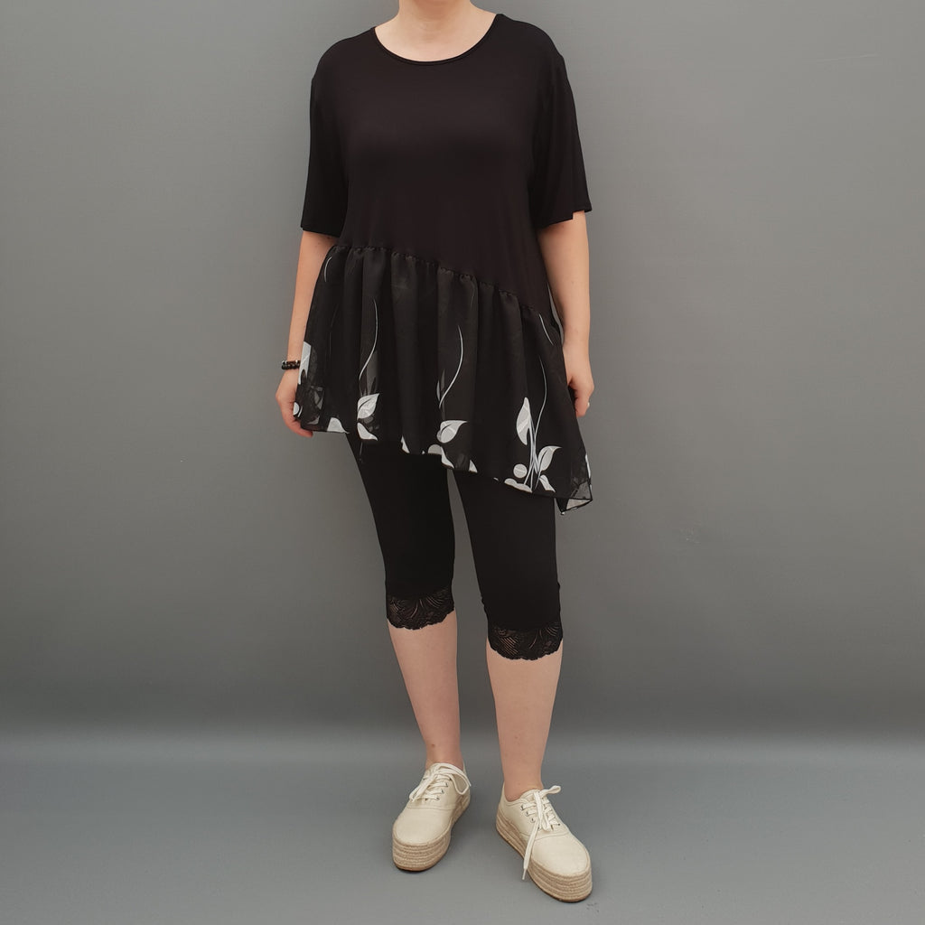 Summer Top with Chiffon Frill Loose Baggy Short Sleeve Beach Holiday Airy Lagenlook Plus Size  [L1074_BLACK2] - size 16 18 20 22 24 26 28 30 32 34 36 38 40 42 Wolfairy